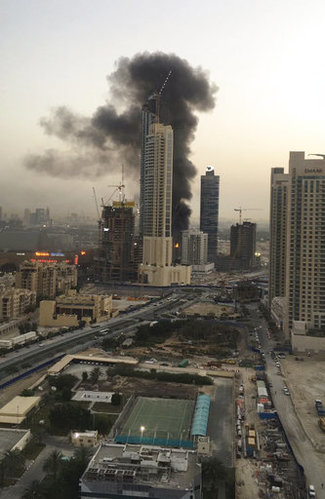 large fire dubai high building
