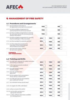 Superb AFEC Fire Safety Risk Assessment Checklist
