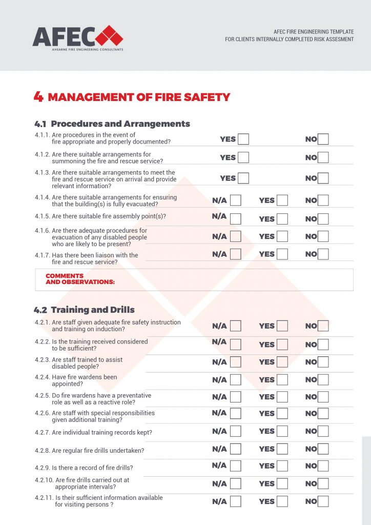 Afec Fire Safety Risk Assessment Checklist Template